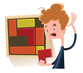 Boy solving a puzzle vector illustration cartoon character