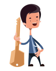 Man holding the key vector illustration cartoon character