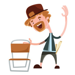 Happy man grabing chair vector illustration cartoon character