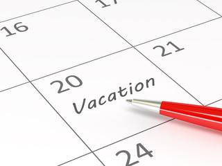 Vacation words  on a calendar