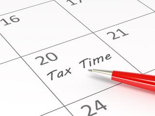 Tax Time words  on a calendar
