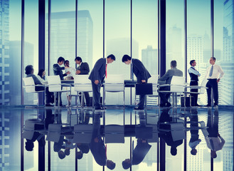 Business People Bowing Discussion Communication Concept