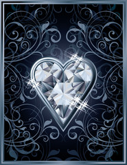 Poker hearts diamond card, vector illustration