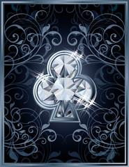 Poker clubs diamond card, vector illustration