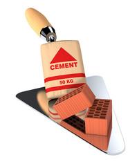 bricks and building tools