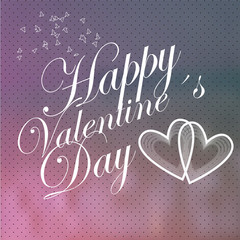 Valentines day, white love text and hearts  over blur background