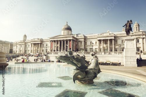 fountain on the Trafalgar Square, London, UK