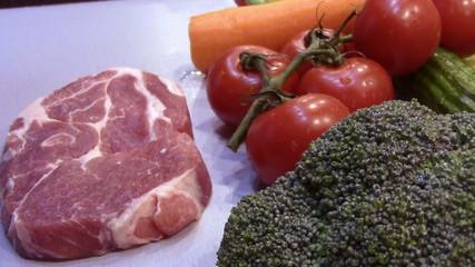 ingredients vegetables and pork
