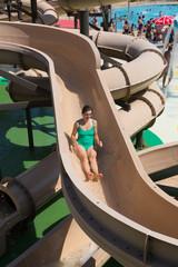 Woman at water slide at Water Park