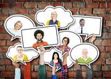 Fototapety Diverse Diversity Ethnic Ethnicity Brick Brick Wall Concept
