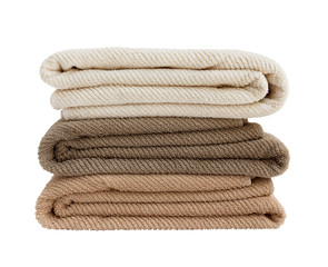 Bath towels in stack isolated on white
