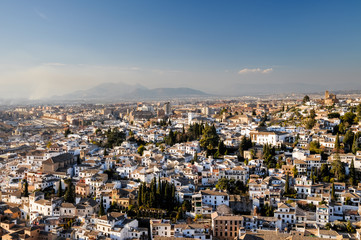 Evening view of the historical city of Granada, Spain