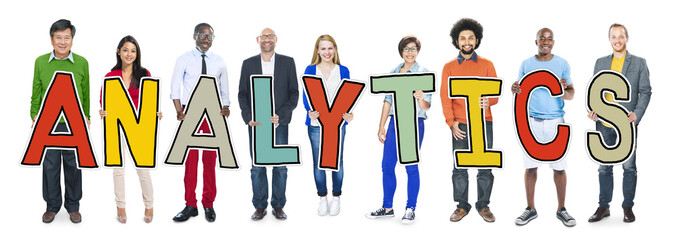Group of People Standing Holding Analytics Concept