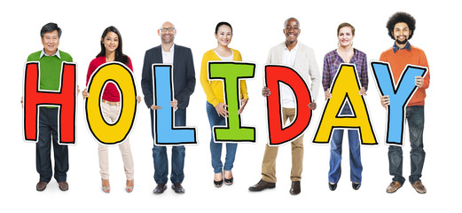 Multiethnic Group People Holding Letter Holiday Concept