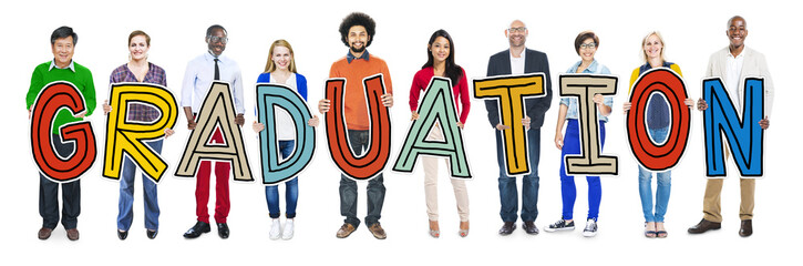 DIverse People Holding Text Graduation Concept