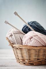 Wool yarn in coils