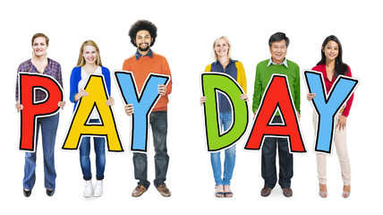 Group of People Standing Holding Payday Concept