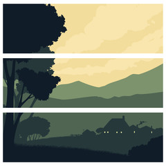 Horizontal banners with a silhouette rural landscape