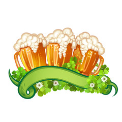 Happy St. Patrick's Day celebration with beer mugs