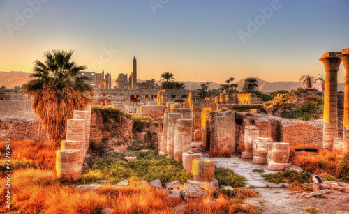 View of the Karnak temple in the evening - Luxor, Egypt - 77260482