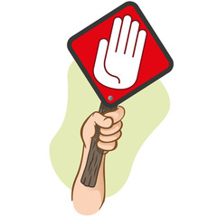 Character hand holding a signpost stop