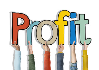 Group of Diverse People's Hands Holding Profit Concept