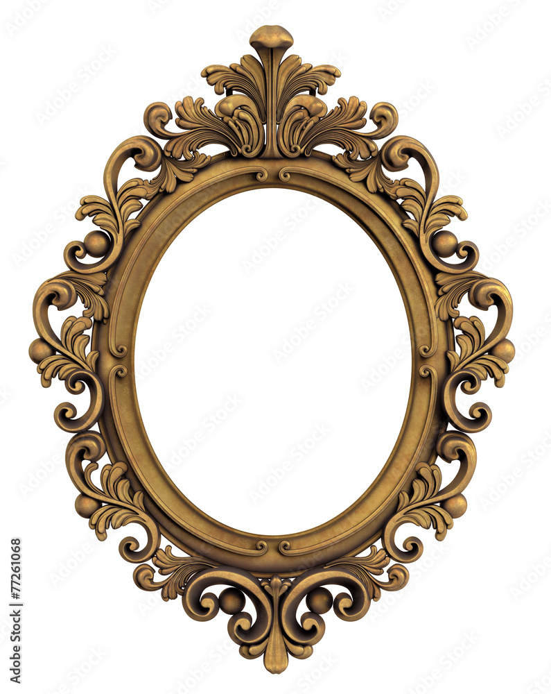 oval baroque gold frame wall sticker wall stickers