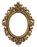 Oval Baroque Gold Frame. Clipping path. - 77261068