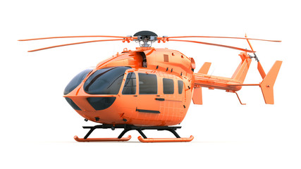 Orange Helicopter. Isolated with Clipping Path.