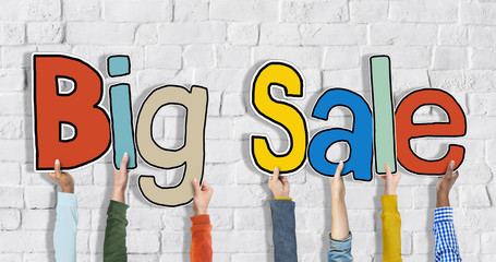 Group Hands Holding Word Big Sale Concept