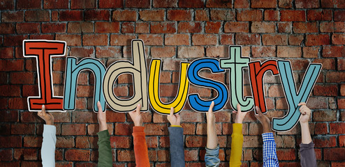 Industry Hands Holding Single Word Concept