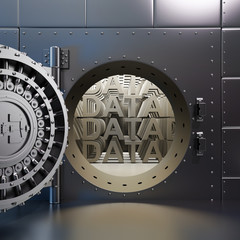 "Open vaulted steel door with ""DATA"" inside the vault"