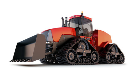 Quad Tractor . Isolated background.
