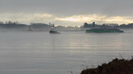 Tugboat and Gravel Barge, Fraser River Mist