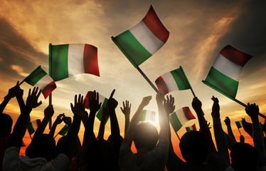 Silhouettes People Holding Flag Italy Concept