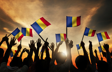Group People Waving Romanian Flags Back Lit Concept