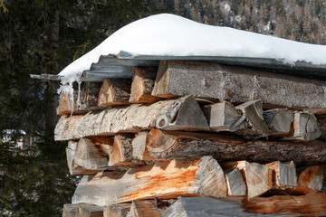 Cut firewood winter fuel log pile in an alpine setting.  Stacked