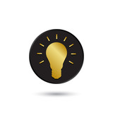Simple gold on black light bulb icon, logo poster