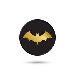 Simple gold on black bat icon, logo