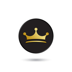 Simple gold on black crown icon, logo
