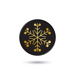 Simple gold on black snowflake icon, logo