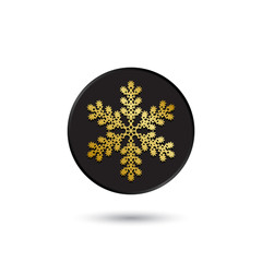 Simple gold on black snowflake icon, logo