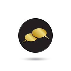 Simple gold on black conversation icon, logo
