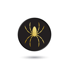 Simple gold on black spider icon, logo