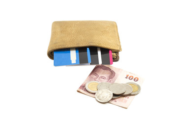 Wallet brown leather with credit card and 100 thai , many coin b