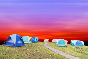 tourist tent with beautiful sunset background