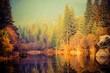Foggy Sunset at the Lake - 77267082
