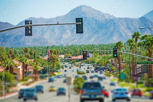 canvas print picture Palm Springs Highway