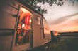 canvas print picture - Travel Trailer Camping