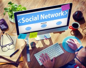Social Network Media Internet Online People Sharing Concept